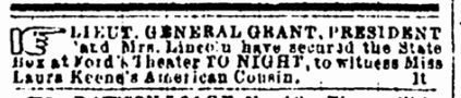Advertisement for Lincoln at Our American Cousin 1
