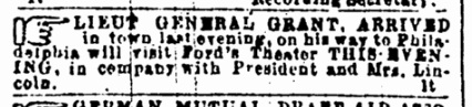 Advertisement for Lincoln at Our American Cousin 2