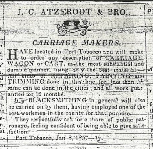 Atzerodt Carriage Shop Advertisement 1857