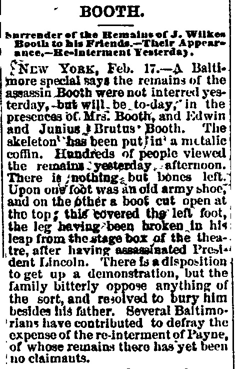 Booth's Remains article