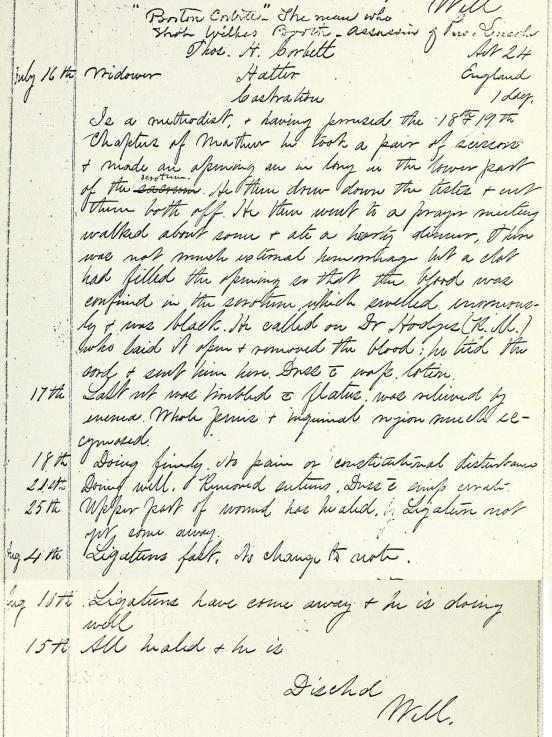 Corbett's Hospital Record
