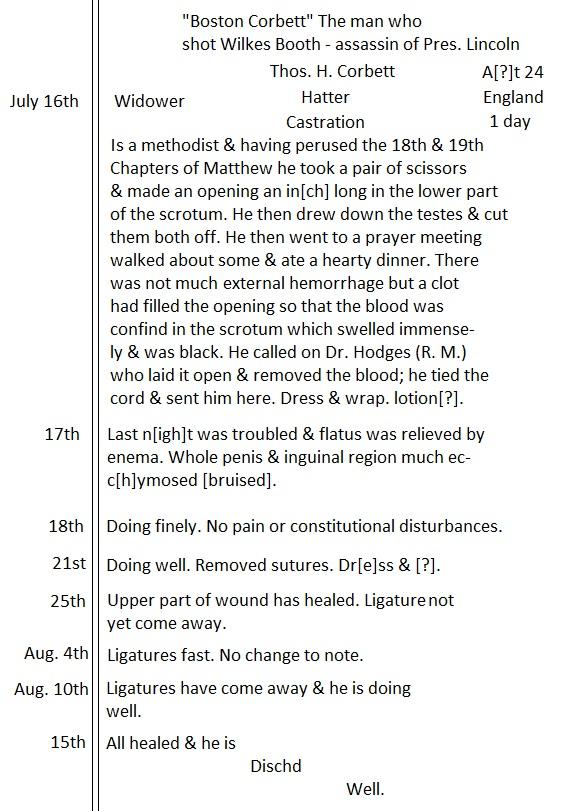 Corbett's Hospital Transcript