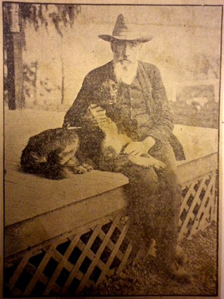 Samuel Arnold in later life, enjoying the company of another devoted dog.