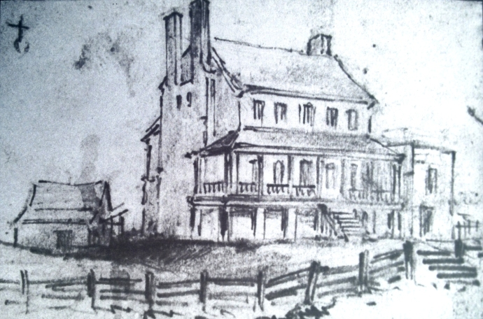 GATH's sketch of Chimney House with Atzerodt's carriage shop in the rear