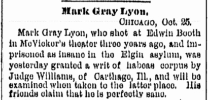 Gray seeks release October 25 1882 Rockford, IL