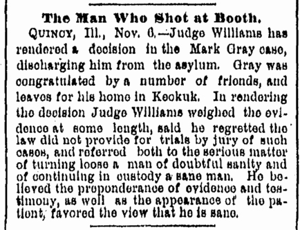 Gray set free November 6 1882 Rockford, IL