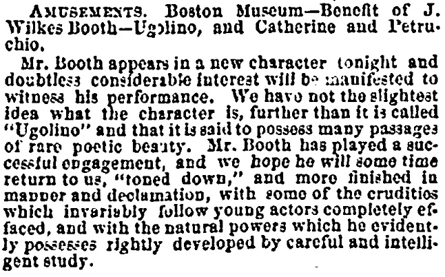 Wilkes in Ugolino March 27 1864 Boston Daily Evening