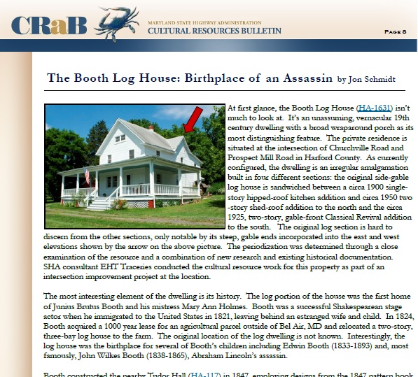 Booth Log House article