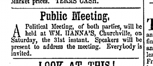 Meeting at Hanna's Oct 1857