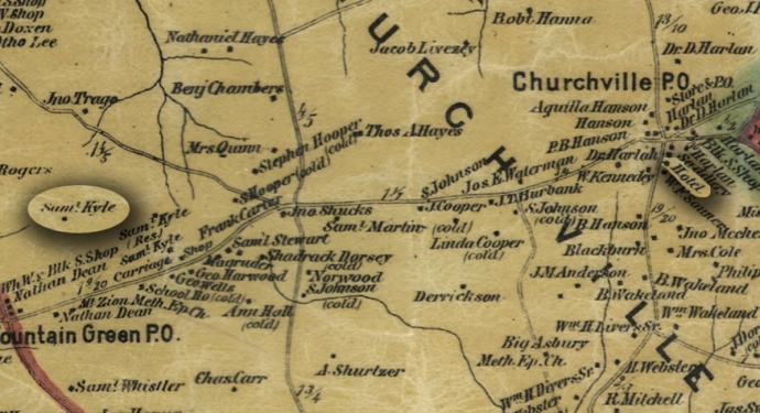 An 1878 map of Harford County showing the distance between Tudor Hall (Purchased that year by Samuel Kyle) to Hanna's Hotel in Churchville (Hanna died that year)