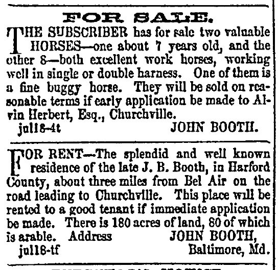 Wilkes' advertisements in the Aegis Summer 1857