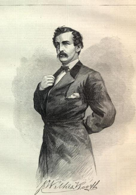 The first engraving of John Wilkes Booth that appeared in the April 29th, 1865 issue of Harper's Weekly.