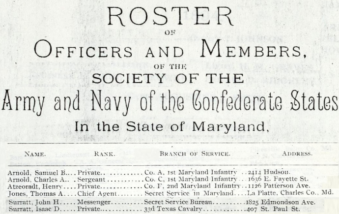Roster Confederate Marylanders