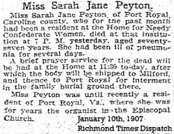 Sarah Jane Peyton Obit
