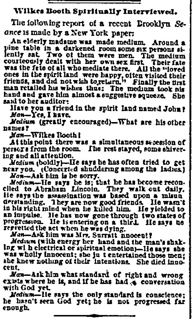 Talking With John Wilkes Booth's Spirit