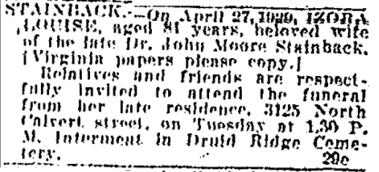 Izora Gouldman's obit Baltimore Sun 4-29-1929