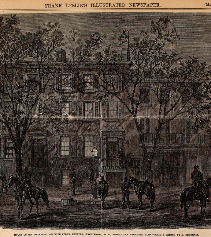 Drawing of the Peterson house from Frank Leslie's  Illustrated Weekly 5/20/1865.  Corporal Tanner's room and balcony are visible on the building next door.