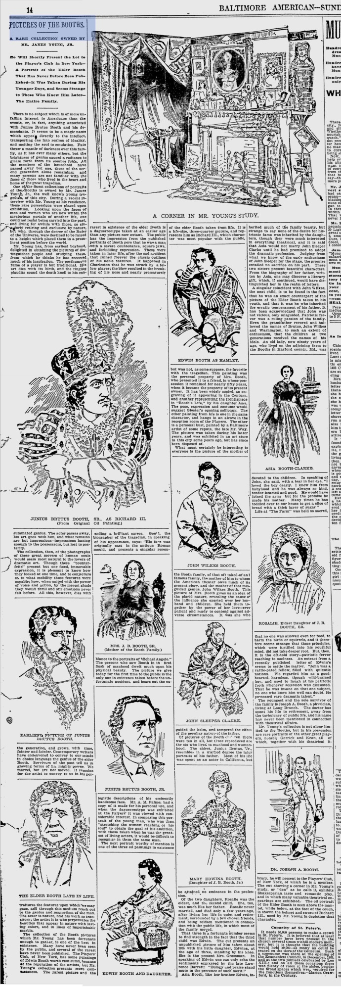 Pictures of the Booths - Baltimore American 7-12-1896 Click to enlarge
