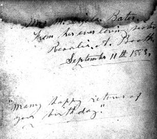 Rose's inscription to Izola Mills