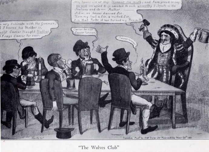 "A caricature of Edmund Kean and his ""Wolf Club"""