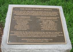 Surratt house dedication plaque
