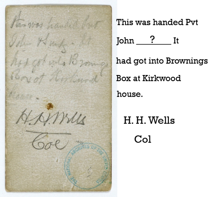 Back of Booth's note to Johnson