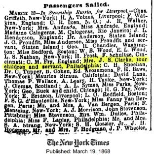 Asia sails for England 1868