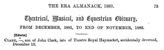 Death of Edwin Booth Clarke