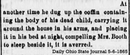 JBB and the coffin of his child Ohio State Jorunal 5-6-1865