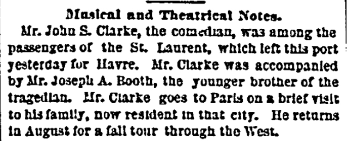 Joe accompanies Clarke to France 6-26-1870