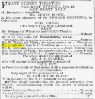 Joe Booth performs in Baltimore The Daily Exchange 7-2-1859
