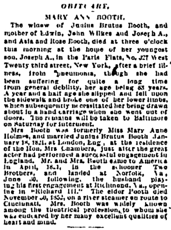 MAB Obit 10-23-1885 Boston Daily Advertiser