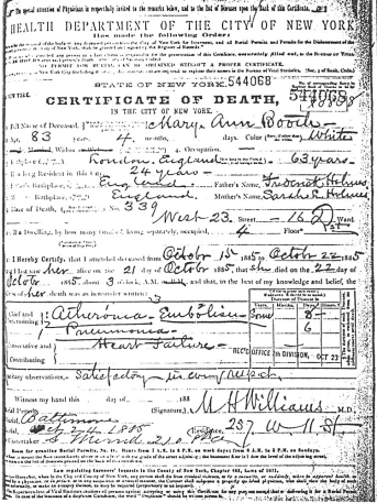 Mary Ann Holmes Booth Death Certificate