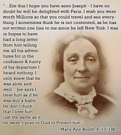 Mary Ann on her son Joe 1862