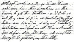 Mrs Rogers regarding the burial of the Booth children 8-16-1886