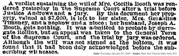Result of Cecilia Booth Will Suit New York Tribune 1-27-1887