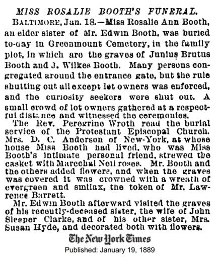 Rosalie's funeral NYT 1-19-1889