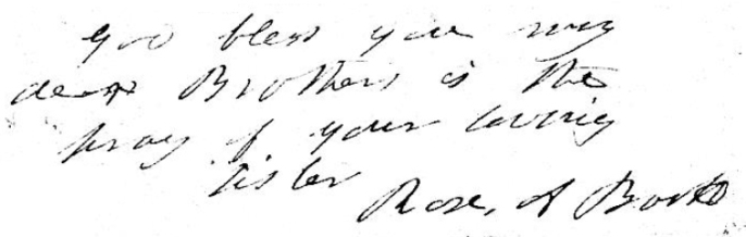 Rosalie's signature in her letter to Edwin