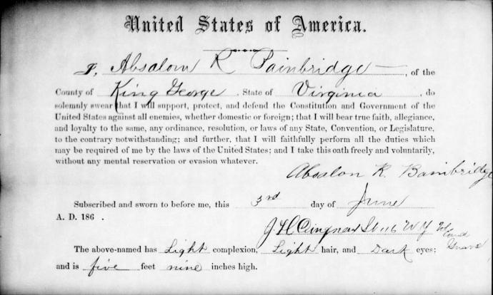 Absalom Bainbridge Oath of Allegiance NARA