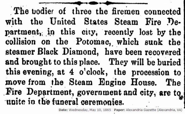 Black Diamond deaths Alexandria Gazette 5-10-1865