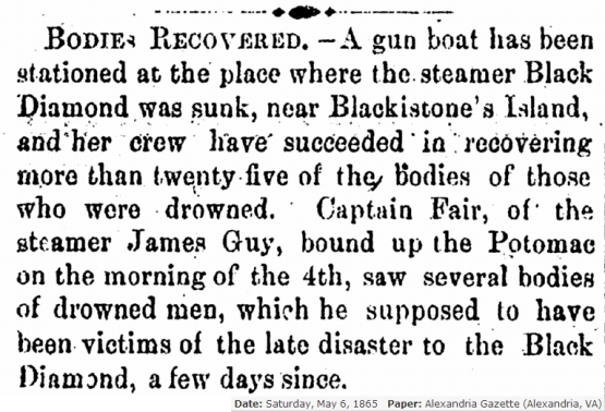 Bodies Recovered Alexandria Gazette 5 - 6 - 1865