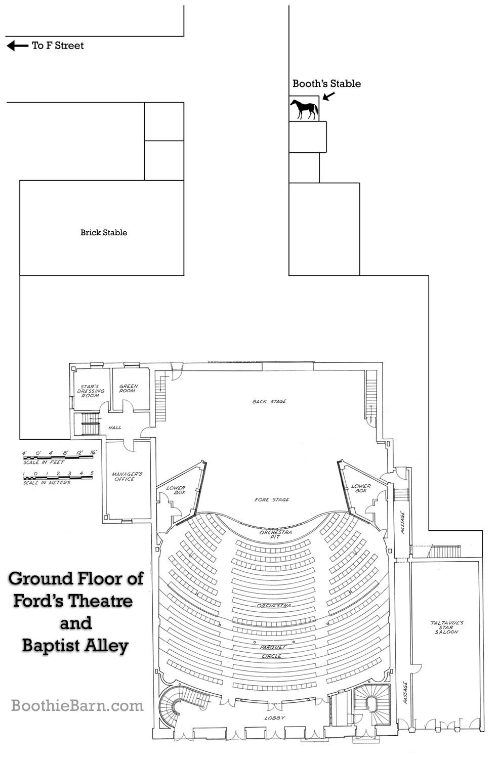 Ground Floor Of Fords Theatre And Baptist Alley Plan