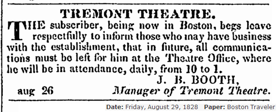 JBB as Manager in Boston 1828 1