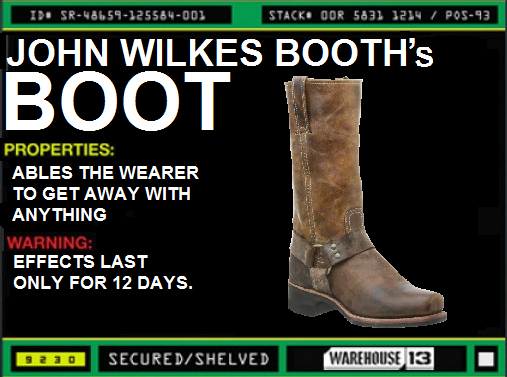 John Wilkes Booth's Boot Warehouse 13 Fan