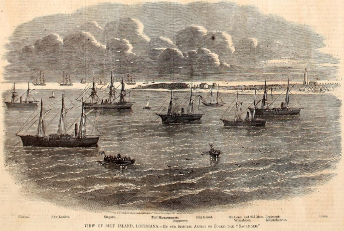 An engraving from Harper's Weekly showing the naval forces at Ship Island, Louisiana.  The Massachusetts is the ship on the far right.