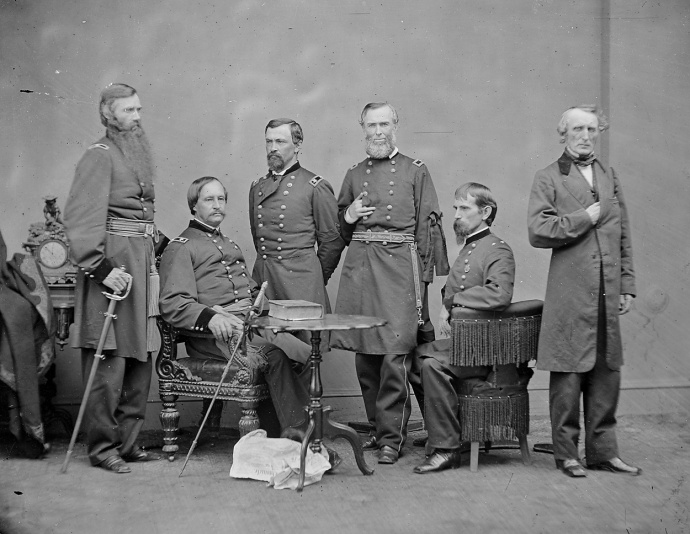Part of the military commission which tried the Lincoln conspirators.  Lew Wallace is seated, second from the right. NARA