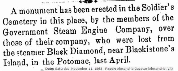 Monument to Black Diamond Alexandria Gazette 11-11-1865