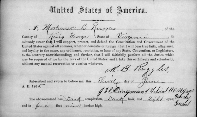Mortimer Ruggles Oath of Allegiance NARA