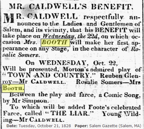 Mrs Booth's 1st appearance on stage 1828