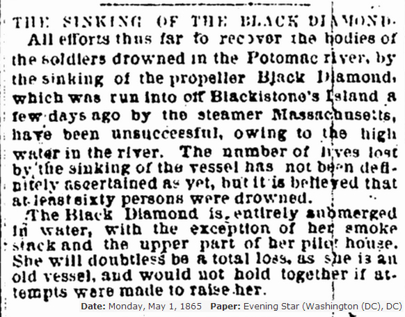 Sinking of the black diamond Evening Star 5 -1- 1865